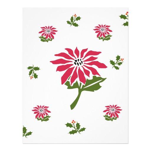 Navidad Poinsettia y acebo del estilo del vintage Plantillas De Membrete