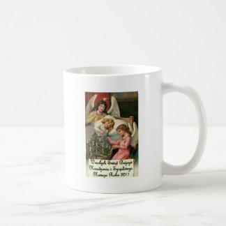 Navidad polaco de Wesolych Swiat Bozego Narodzenia Taza Básica Blanca