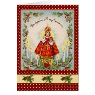 Navidad polaco del vintage con el rey y el acebo felicitación