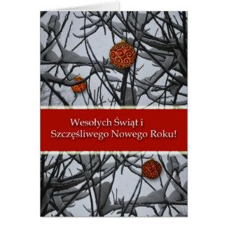 Navidad polaco, ornamentos en nieve tarjeta de felicitación