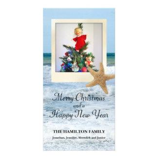 Navidad polaroid 1 de la playa de las estrellas de tarjetas fotograficas personalizadas