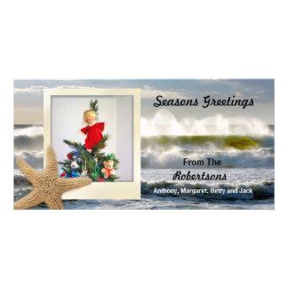 Navidad polaroid 2 de la playa de las estrellas de tarjetas fotograficas personalizadas
