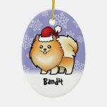 Navidad Pomeranian (añada su nombre de mascotas) Adornos De Navidad
