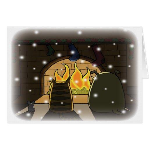 Navidad por el fuego tarjeta de felicitación