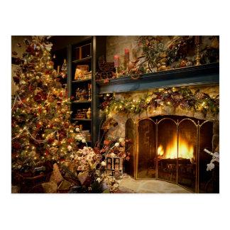 Navidad por la chimenea postales