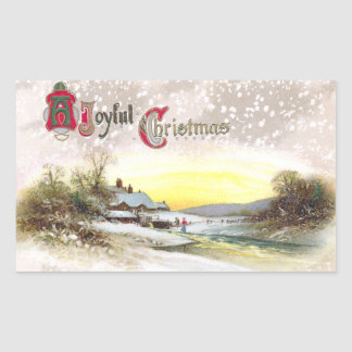 Navidad por la corriente del molino pegatina rectangular