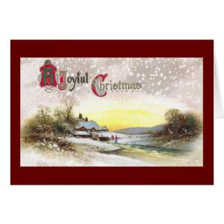 Navidad por la corriente del molino tarjeta de felicitación