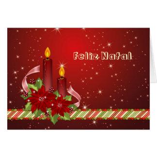 Navidad portugués - Poinsettia y velas Tarjeta De Felicitación