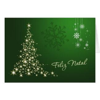 Navidad portugués, verde y árbol chispeante del tarjeta pequeña