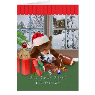 Navidad, primer, gato, oso de peluche tarjeta de felicitación
