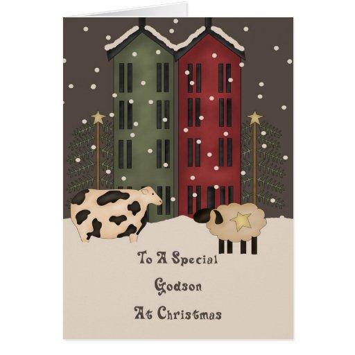 Navidad primitivo del ahijado de la vaca y de las tarjeta de felicitación