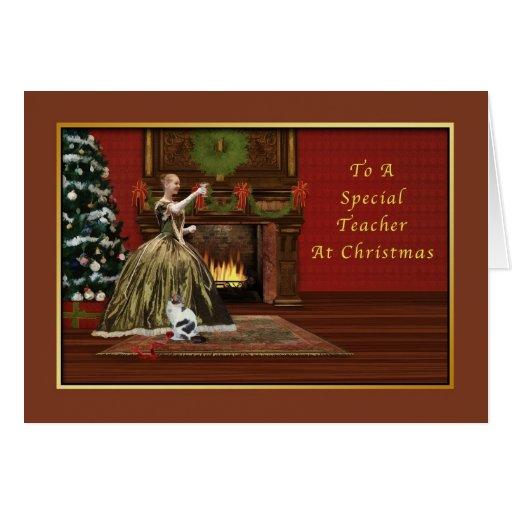 Navidad, profesor, pasado de moda tarjeta de felicitación