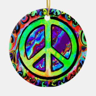 Navidad psicodélico del signo de la paz adornos de navidad