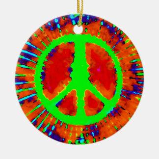 Navidad psicodélico del signo de la paz adorno redondo de cerámica