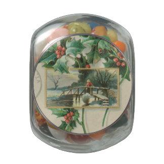 Navidad puente y acebo del vintage jarras de cristal