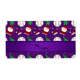 Navidad púrpura conocido personalizado del béisbol etiqueta de envío