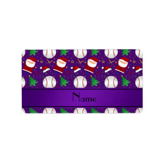 Navidad púrpura conocido personalizado del béisbol etiqueta de dirección