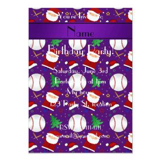 """Navidad púrpura conocido personalizado del béisbol invitación 5"""" x 7"""""""