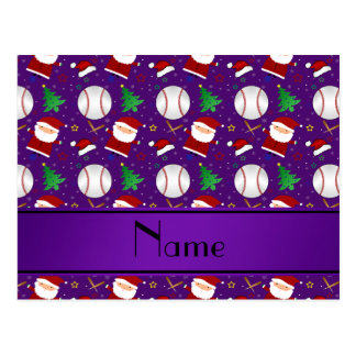 Navidad púrpura conocido personalizado del béisbol tarjetas postales