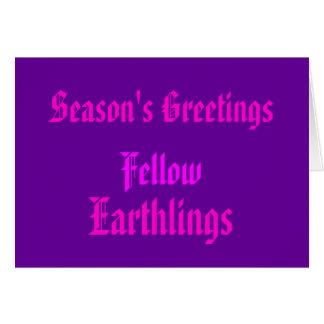 """Navidad púrpura de los """"Earthlings compañeros"""" Tarjeta De Felicitación"""