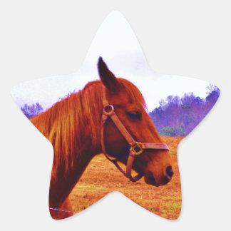 Navidad púrpura del árbol del caballo de Brown Pegatina En Forma De Estrella