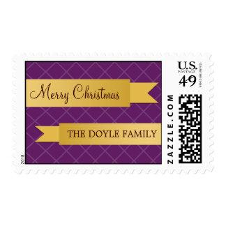 Navidad púrpura del enrejado de la cinta de satén sello