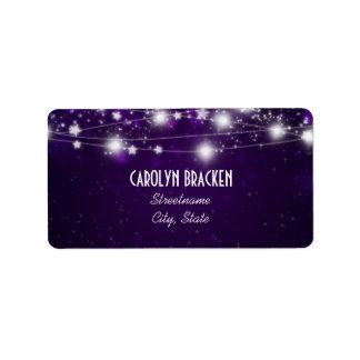 Navidad púrpura elegante de las estrellas que etiquetas de dirección