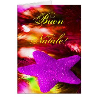 Navidad púrpura STAR-II de Buon Natale del navidad Tarjeta De Felicitación