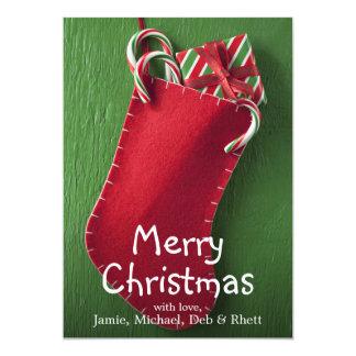 """Navidad que almacena con los bastones del regalo y invitación 5"""" x 7"""""""