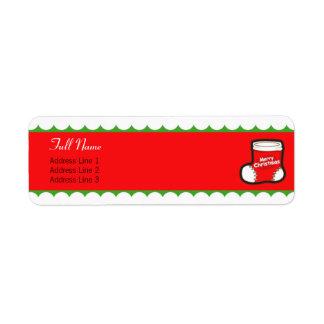 Navidad que almacena la etiqueta verde roja de la  etiquetas de remite