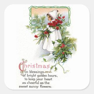 Navidad que bendice pegatina cuadrada