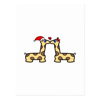 Navidad que besa jirafas postales
