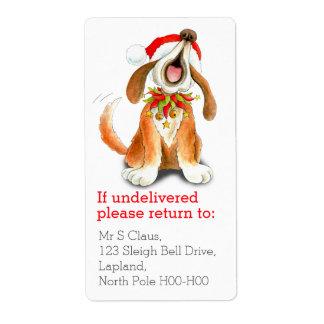 Navidad que canta a perro etiquetas del remite etiquetas de envío