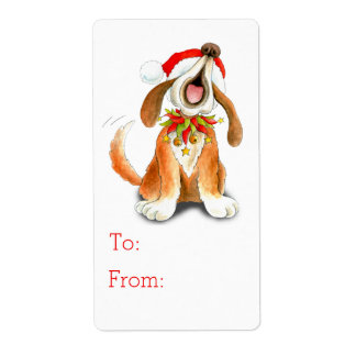 Navidad que canta la etiqueta del regalo del perro etiqueta de envío