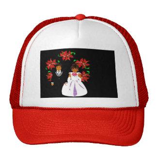 Navidad que casa pares en guirnalda redonda roja gorros