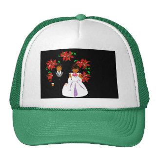 Navidad que casa pares en guirnalda redonda verde gorros