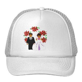 Navidad que casa pares en la guirnalda redonda bla gorras