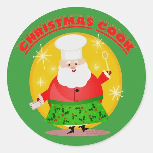 Navidad que cuece a los pegatinas de Santa Pegatinas Redondas