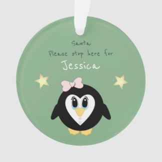 Navidad que cuelga el pingüino de acrílico de