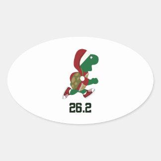 Navidad que funciona con la tortuga 26,2 calcomanía ovaladas personalizadas