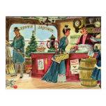Navidad que hace compras en la tienda general tarjetas postales
