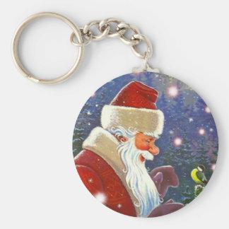 Navidad que nieva de Santa del vintage del pájaro  Llavero Redondo Tipo Pin