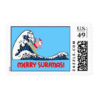 Navidad que practica surf divertido sello