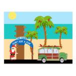 Navidad que practica surf postal