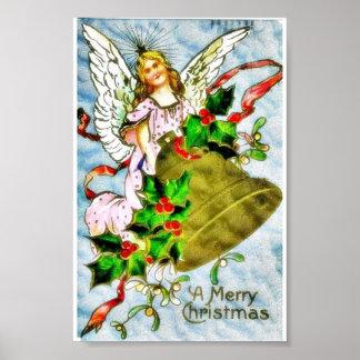 Navidad que saluda con con un ángel que sostiene a póster