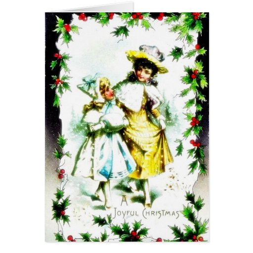 Navidad que saluda con dos chicas que caminan en u tarjetas