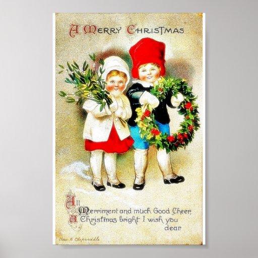 Navidad que saluda con dos niños que llevan a cabo posters