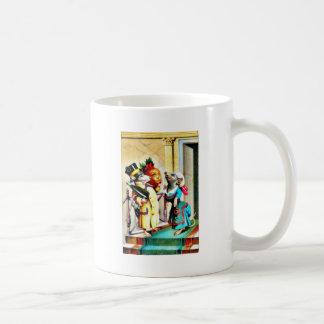 Navidad que saluda con dos ratones que llevan el d taza de café
