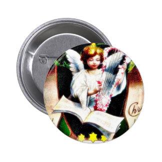 Navidad que saluda con el ángel que juega música pin redondo 5 cm