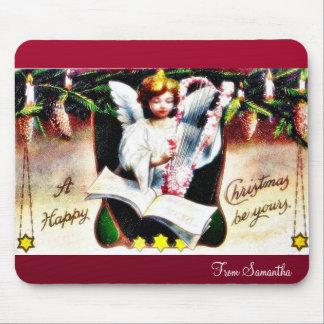 Navidad que saluda con el ángel que juega música tapete de raton